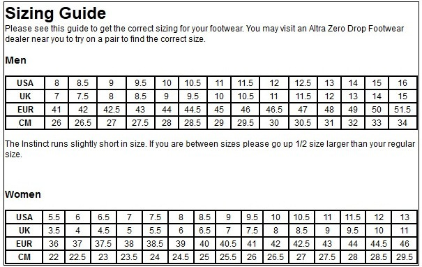 altra running shoe size